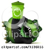 Poster, Art Print Of 3d Green Business T Rex Dinosaur Holding A Recycle Bin On A White Background