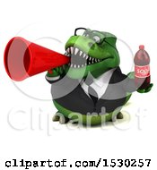 Poster, Art Print Of 3d Green Business T Rex Dinosaur Holding A Soda On A White Background