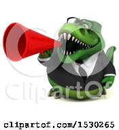 Poster, Art Print Of 3d Green Business T Rex Dinosaur Using A Megaphone On A White Background
