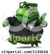 3d Green Business T Rex Dinosaur Running On A White Background