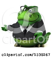 Poster, Art Print Of 3d Green Business T Rex Dinosaur Presenting On A White Background