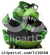 Poster, Art Print Of 3d Green Business T Rex Dinosaur Holding A Thumb Up On A White Background
