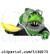 3d Green Business T Rex Dinosaur Holding A Banana On A White Background