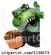 Poster, Art Print Of 3d Green Business T Rex Dinosaur Holding A Cupcake On A White Background