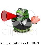 Poster, Art Print Of 3d Green Business T Rex Dinosaur Holding A Piggy Bank On A White Background
