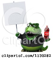 3d Green Business T Rex Dinosaur Holding A Soda On A White Background