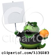 Poster, Art Print Of 3d Green Business T Rex Dinosaur Holding An Orange On A White Background