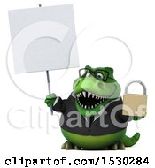 3d Green Business T Rex Dinosaur Holding A Padlock On A White Background
