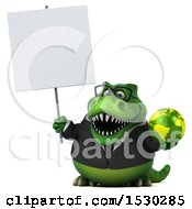 Poster, Art Print Of 3d Green Business T Rex Dinosaur Holding A Globe On A White Background