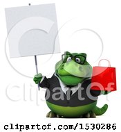 3d Green Business T Rex Dinosaur Holding A Shopping Bag On A White Background