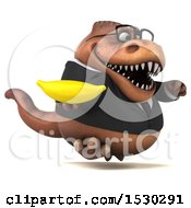 Poster, Art Print Of 3d Brown Business T Rex Dinosaur Holding A Banana On A White Background