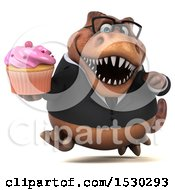 3d Brown Business T Rex Dinosaur Holding A Cupcake On A White Background