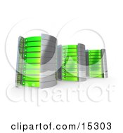 Three Green Towers Of Server Racks Clipart Illustration Image