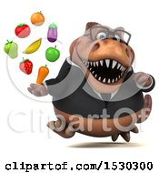 3d Brown Business T Rex Dinosaur Holding Produce On A White Background