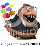 Poster, Art Print Of 3d Brown Business T Rex Dinosaur Holding Messages On A White Background