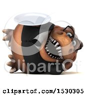 3d Brown Business T Rex Dinosaur Holding A Plate On A White Background