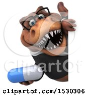 3d Brown Business T Rex Dinosaur Holding A Pill On A White Background