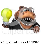 Poster, Art Print Of 3d Brown Business T Rex Dinosaur Holding A Light Bulb On A White Background