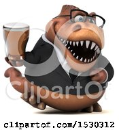 Poster, Art Print Of 3d Brown Business T Rex Dinosaur Holding A Beer On A White Background