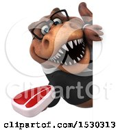 3d Brown Business T Rex Dinosaur Holding A Steak On A White Background