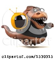 3d Brown Business T Rex Dinosaur Holding A Tv On A White Background