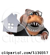 3d Brown Business T Rex Dinosaur Holding A House On A White Background