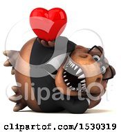 3d Brown Business T Rex Dinosaur Holding A Heart On A White Background
