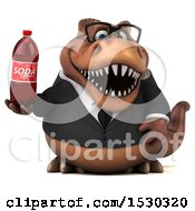 Poster, Art Print Of 3d Brown Business T Rex Dinosaur Holding A Soda On A White Background