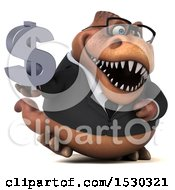 3d Brown Business T Rex Dinosaur Holding A Dollar Sign On A White Background