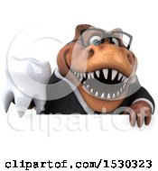 3d Brown Business T Rex Dinosaur Holding A Tooth On A White Background