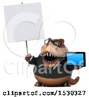 3d Brown Business T Rex Dinosaur Holding A Tablet On A White Background