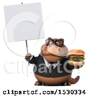 3d Brown Business T Rex Dinosaur Holding A Burger On A White Background