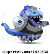 3d Blue Business T Rex Dinosaur Holding An Eye On A White Background