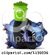3d Blue Business T Rex Dinosaur Holding A Recycle Bin On A White Background