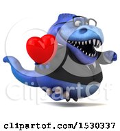 Poster, Art Print Of 3d Blue Business T Rex Dinosaur Holding A Heart On A White Background