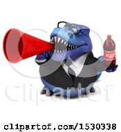 Poster, Art Print Of 3d Blue Business T Rex Dinosaur Holding A Soda On A White Background