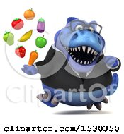 3d Blue Business T Rex Dinosaur Holding Produce On A White Background