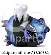 3d Blue Business T Rex Dinosaur Holding A Tooth On A White Background