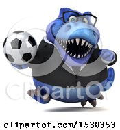 3d Blue Business T Rex Dinosaur Holding A Soccer Ball On A White Background