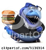 3d Blue Business T Rex Dinosaur Holding A Burger On A White Background