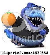 3d Blue Business T Rex Dinosaur Holding An Orange On A White Background