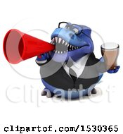Poster, Art Print Of 3d Blue Business T Rex Dinosaur Holding A Beer On A White Background