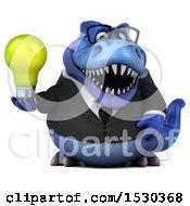 3d Blue Business T Rex Dinosaur Holding A Light Bulb On A White Background