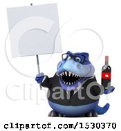 3d Blue Business T Rex Dinosaur Holding Wine On A White Background