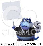 Poster, Art Print Of 3d Blue Business T Rex Dinosaur Holding A Dollar Sign On A White Background