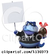 3d Blue Business T Rex Dinosaur Holding A Chocolate Egg On A White Background