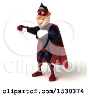 Clipart Of A 3d Buff White Male Maroon Super Hero Holding An Envelope On A White Background Royalty Free Illustration