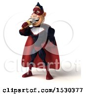 Clipart Of A 3d Buff White Male Maroon Super Hero Eating An Ice Cream Cone On A White Background Royalty Free Illustration