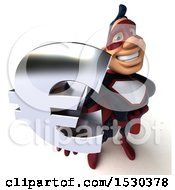 Clipart Of A 3d Buff White Male Maroon Super Hero Holding A Euro On A White Background Royalty Free Illustration