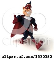 Clipart Of A 3d Buff White Male Maroon Super Hero Holding A Thumb Up On A White Background Royalty Free Illustration